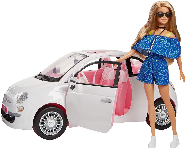 Barbie bambola con nuova fiat 500 2018 mattel