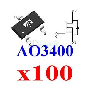 100x-SMD-SOT23-AO3400-3400-N-Channel-30V-5-8A-MOSFET-for-PWM-Load-Switch