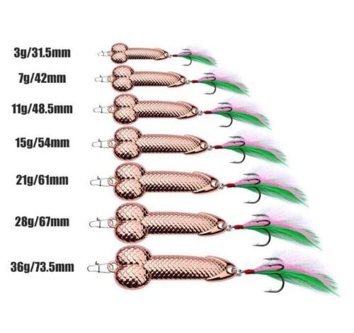 2018 Penis Spoon Fishing Lure 15g-36g with Hooks Metal Bait Funny Tackle