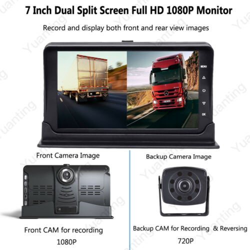 7/'/' Split Front+Rear View DVR Recording IPS Monitor+AHD Camera For VAN Truck 32G