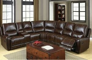 Sectional Sofa With Hidden Storage Brown Bonded Leather Transitional Style Sofa