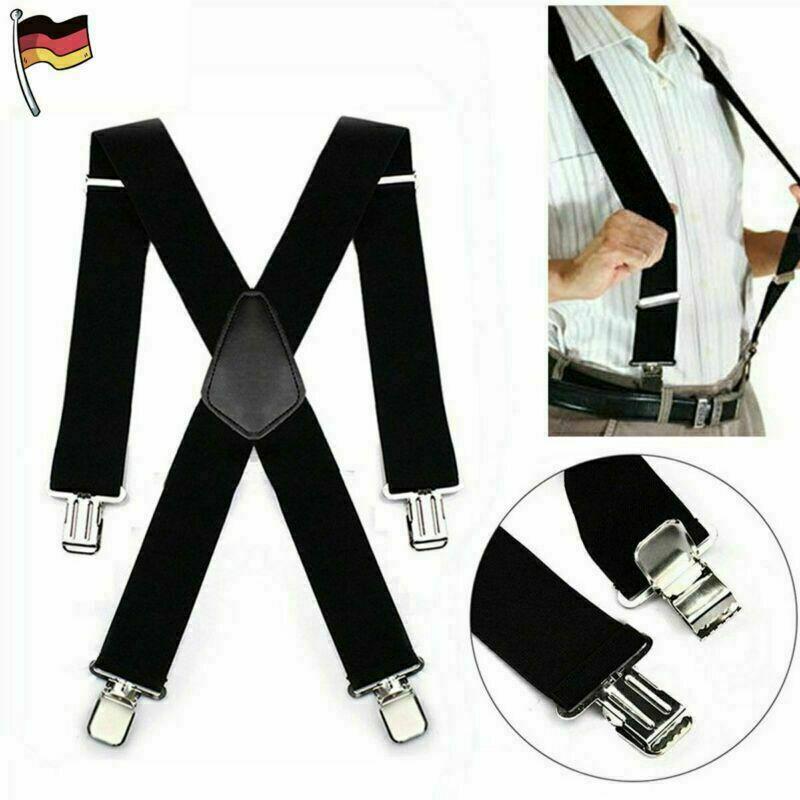 DE Hosenträger starke 50mm Damen Herren Extra Breit Hosen X-Form mit 4 Clips DE