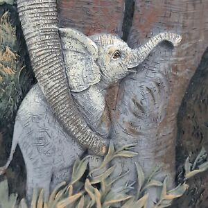 Vintage-African-Elephant-Ruanne-Manning-Wall-Hanging-3D-Mother-amp-Baby-Resin-S5