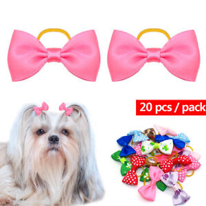 20pcs Dots Print Small Dog Puppy Hair Bows Dog Grooming Accessories