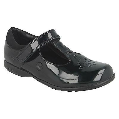 Clarks Girls Trixi Pip Black Patent T-Bar Strap School Shoes