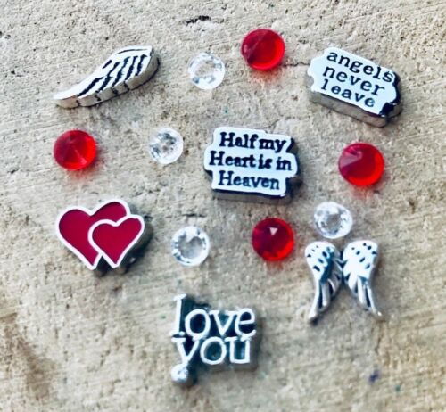 Floating Charms Half My Heart Angels Never Leave Heart fit Origami Glass Locket