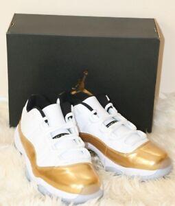 detailed look ab9dc cb16c Image is loading Air-Jordan-Retro-11-Low-White-Metallic-Gold-