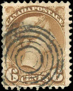 Canada-Used-1872-6c-F-Scott-39b-Perf-11-5x12-Small-Queen-Stamp