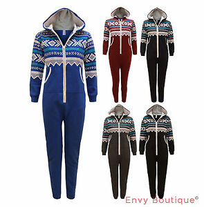 Kids-Boys-Hooded-Junior-Aztec-Print-All-In-One-Jumpsuit-One-Set-Pyjamas-Age-8-14