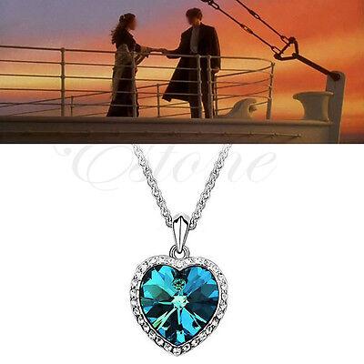 Titanic Heart of Ocean Charm Blue Crystal Rhinestone Pendant Necklace For Women