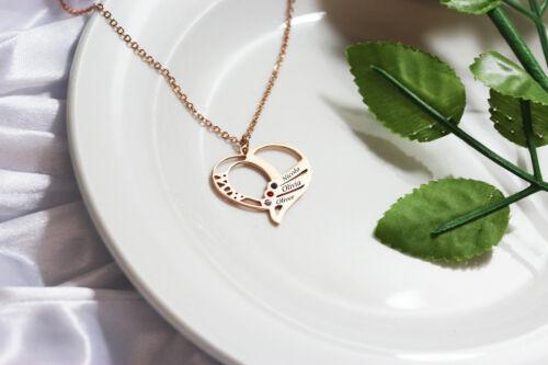 Personalisiert Herz Geburtsstein Halskette Jeden 3 Namen Graviert Rose Schmuck