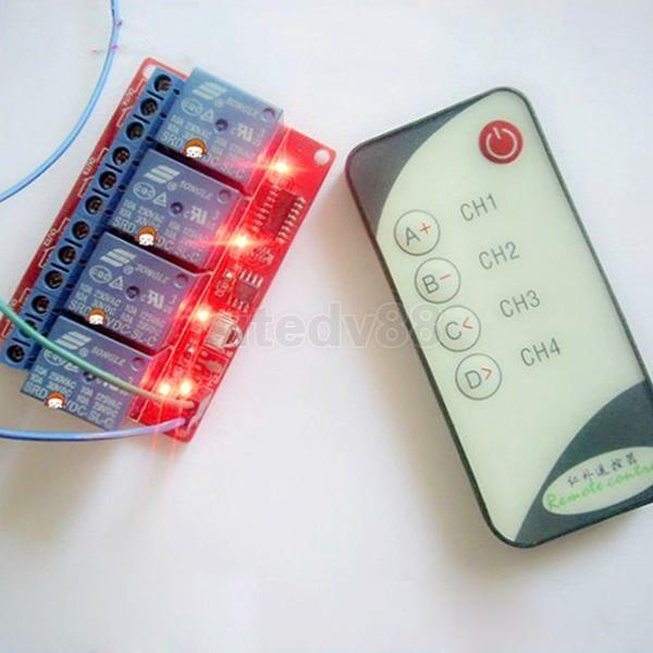 4-Channel 12V LED Relay Module + IR Remote Control for Single Chip Microcomputer