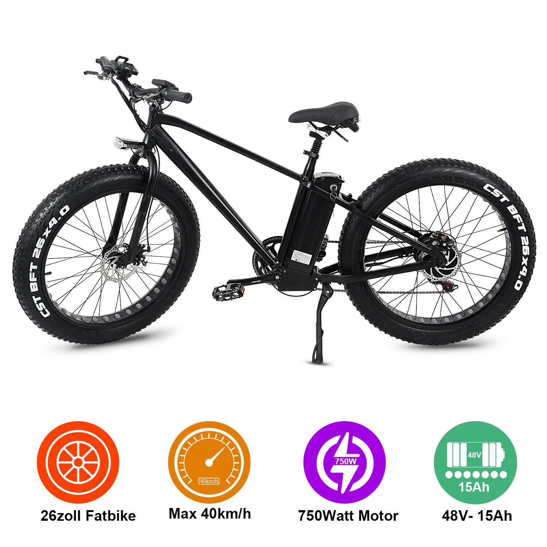 26 Zoll Elektrofahrrad E bike Fatbike ALU E Fahrrad 48V 15Ah