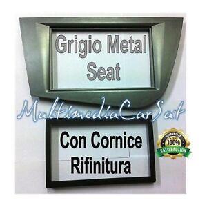 Mascherina-Autoradio-Doppio-Din-Seat-Leon-039-05-039-12-Grigio-Metall-Cornice-3340DDG
