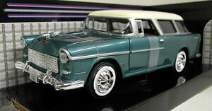 Motormax-1-24-Scale-73200AC-1955-Chevy-Bel-Air-Nomad-Green-Diecast-model-car