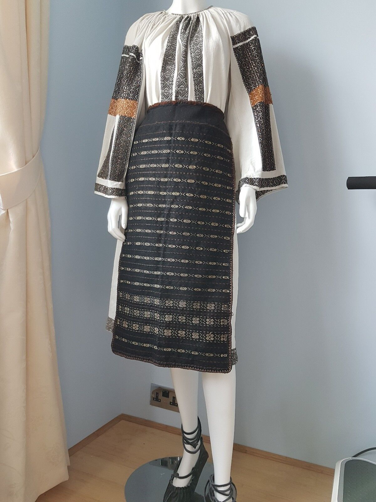 Vintage hand embroidered Romanian full outfit