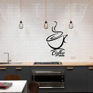 ADESIVI da parete per caffè CUCINA BAR ARTE Decalcomania sala da ...