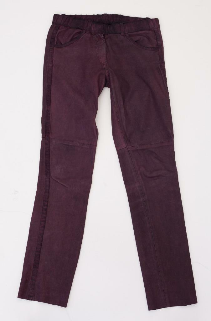 ISABEL MARANT Burgundy TUX STRIPE Distressed Stretch Leather Jeans Pants 1 S