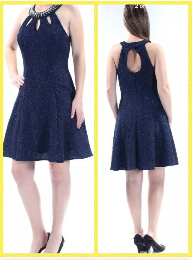 Betsy & Adam NEW Navy Blau damen Größe 4 Sheath A-Line Shimmer Dress