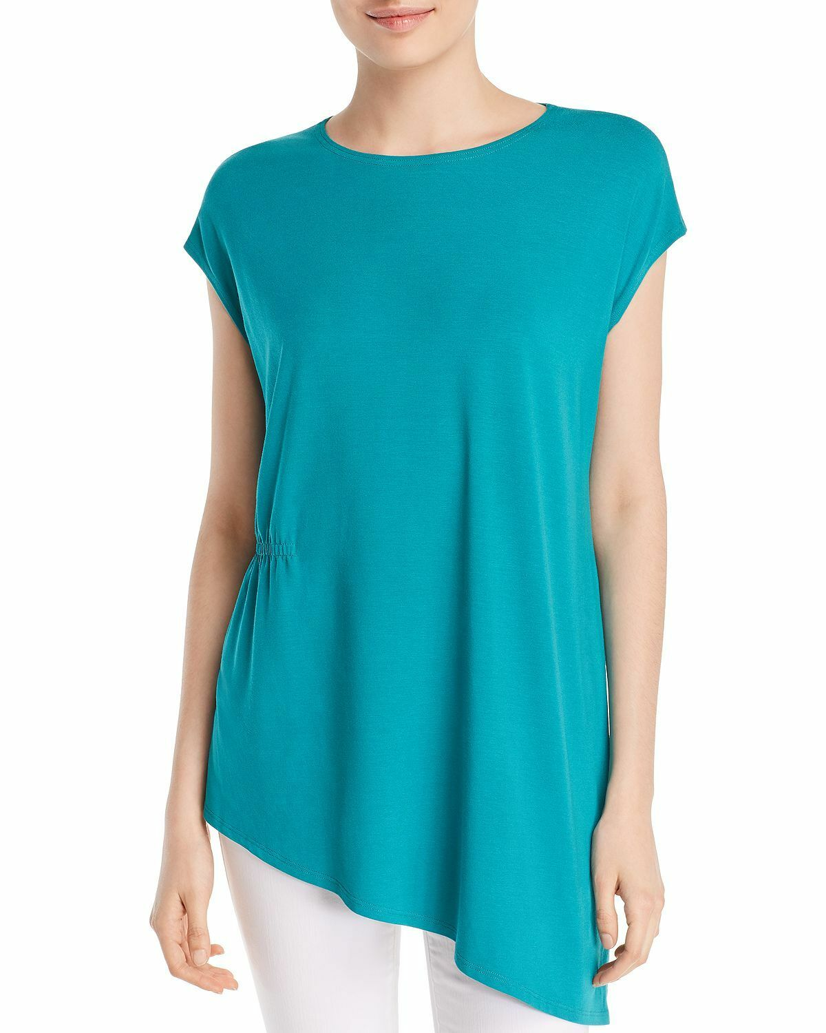 Eileen Fisher Plus Gathered Asymmetric Top Turquoise Jersey Knit Sz Large NWT
