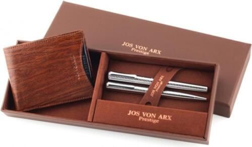 Ball Point /& Roller Ball Pen Men/'s Gift Set With Brown Leather Wallet