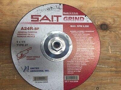 "6B6-005 9 X 1//4/"" GRINDING WHEEL A24R-BF 7//8/"" ARBOR SAIT GRIND 20090"