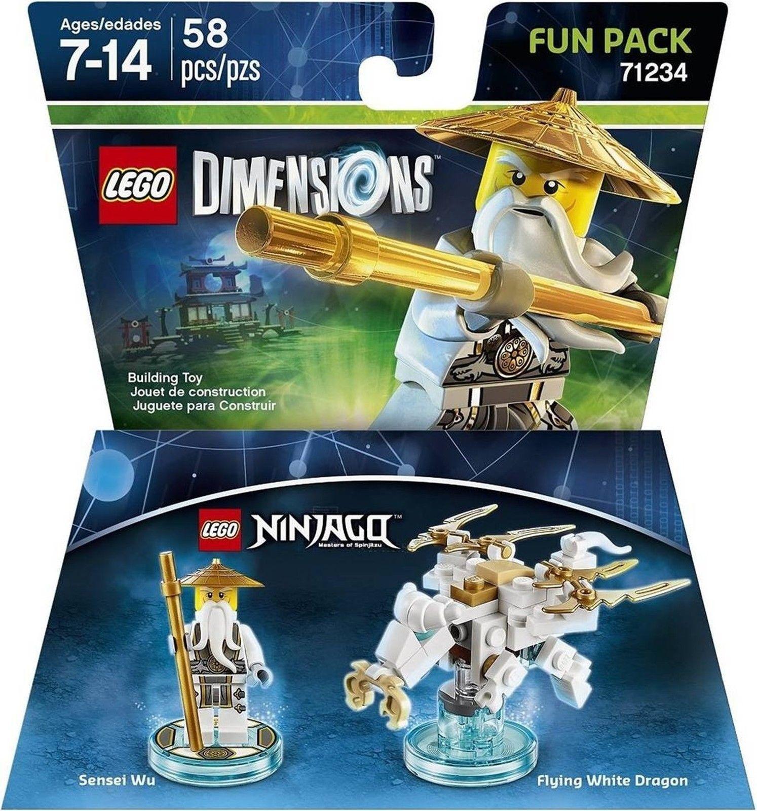 Lote O 24 Lego Tallas la película Paquete De Diversión Sensei Wu Ninjago Dragón blancoo 71234