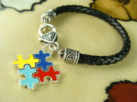 Autism Large Charm On Black Braided Leather Bracelet