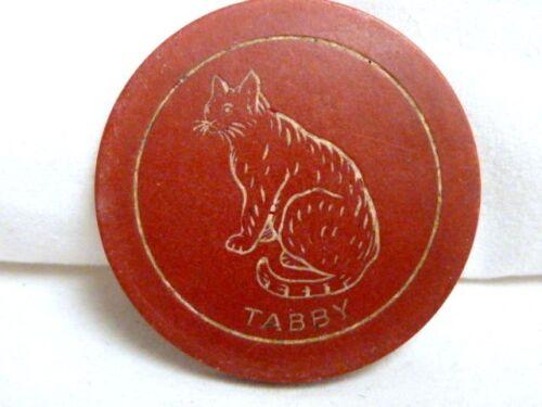 "CLAY OR TOKEN MAROON /""TABBY/"" POKER CHIP FREE SHIPPING   I-1077"