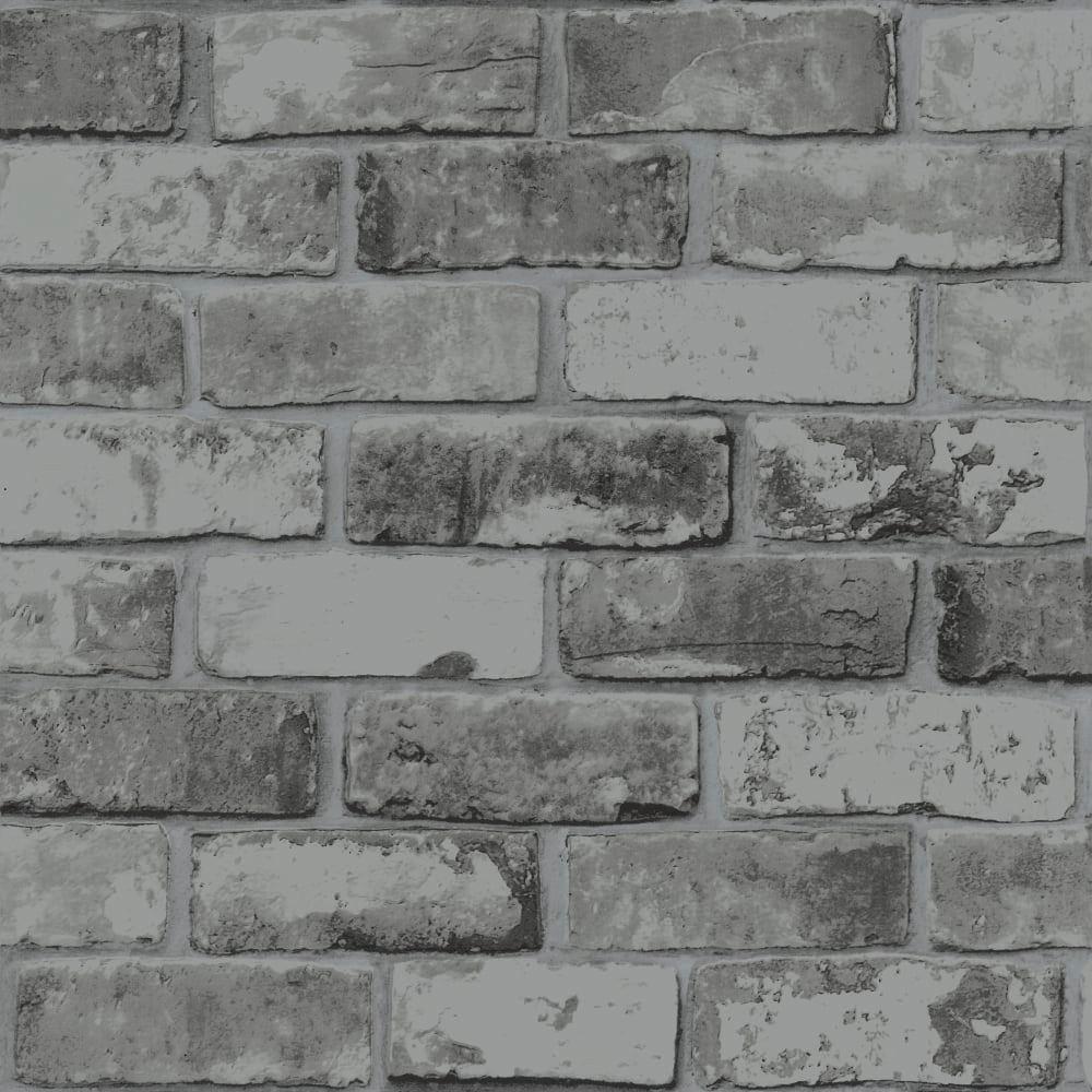 Slate Grey Realistic Brick Wall Faux Wallpaper 3D Effect ...