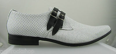 Retro Mens White Leather Winkle Picker 2 Strap Black Buckle Shoes Hand Made