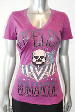 NWT AFFLICTION womans LIVE FAST CHAMPIONS TEE V-NECK stitching detail SIZE SMALL