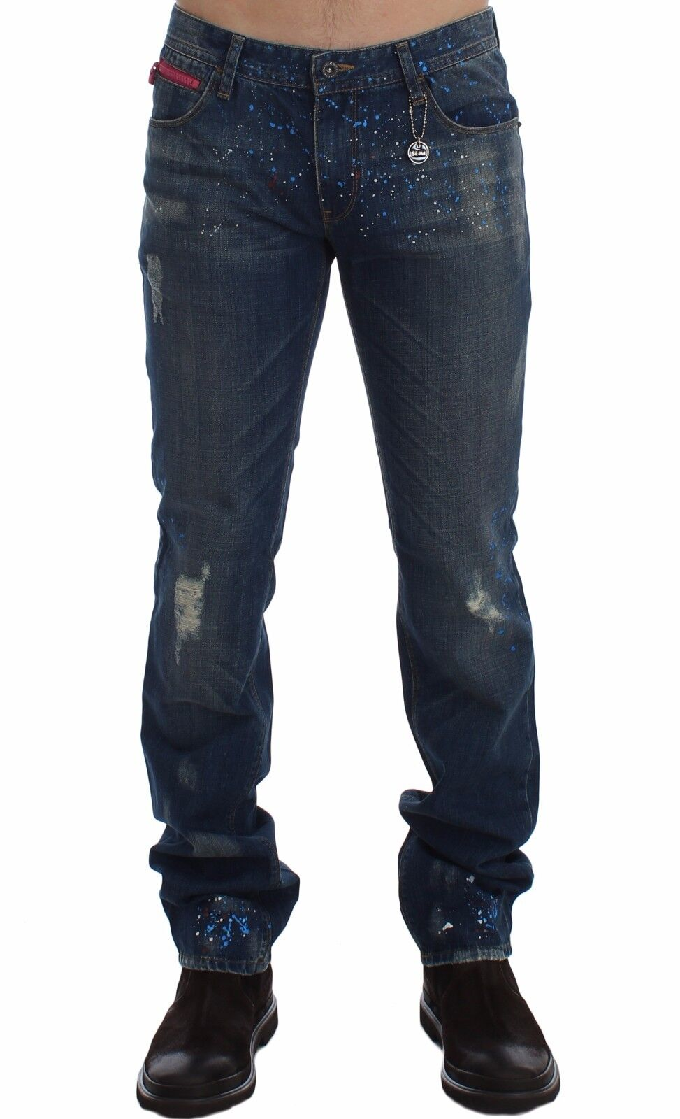 NEW COSTUME NATIONAL C'N'c bluee Wash Paint Slim Fit Pants Jeans W34   IT48