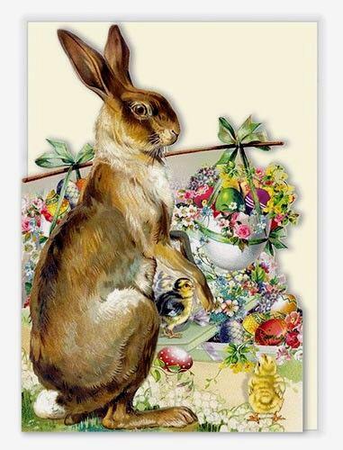 Edition Tausendschön*Ostern*Doppelkarte*ausgestanzt*Nostalgie*Hase/&Blumentopf