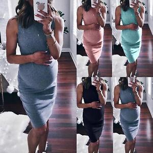 Pregnant-Womens-Sundress-Summer-Sleeveless-Maternity-Short-Mini-Dress-Plus-Size