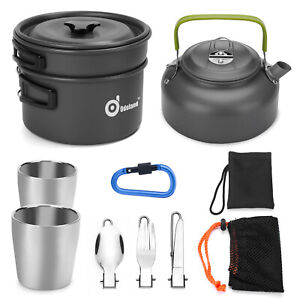 10pcs Camping Cookware Mess Kit Pot Pan Kettle Fork Spoon Cup Backpacking