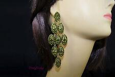 Olive Green goldtone Chandelier Crystal Rhinestone wedding Bridal Prom Earrings