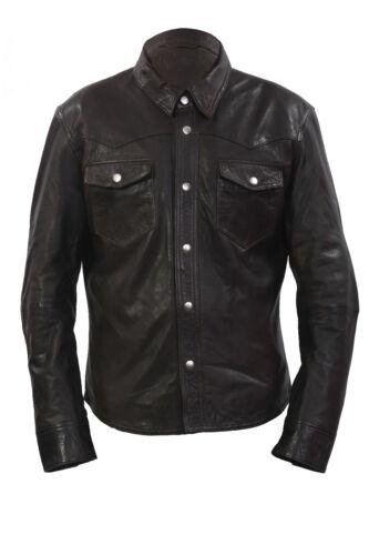 Slimfit Infinity Leather Jeans Casual Brown Jacket Shirt Denim Men's Retro Style wOprqAIO