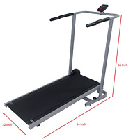 Manual Treadmill Cardio Walk Run Exercise Foldable 22w 54l 56h+counter