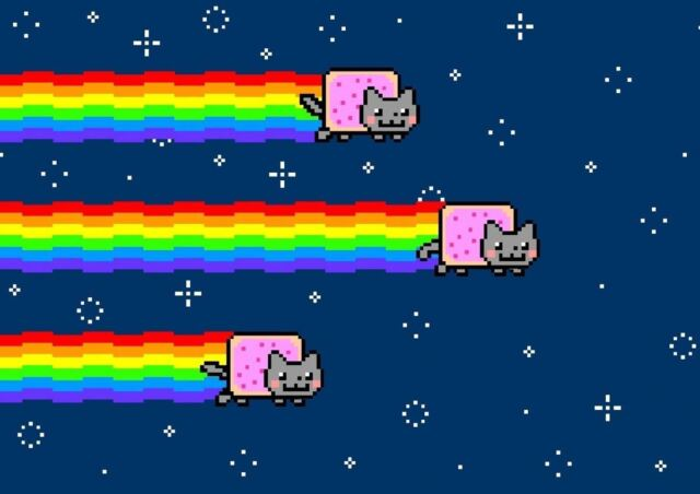 nyan cat rainbow flying space pixel a3 art print poster yf5387 for