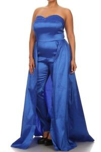 Details about Plus Size Royal Blue Strapless Skinny Leg Jumpsuit Maxi Dress  Skirt Overlay