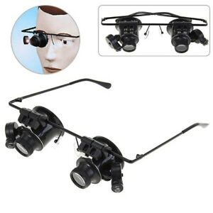 20X-Glasses-Type-Binocular-Magnifier-Watch-Repair-Tool-with-Two-LED-Lights-US-KX