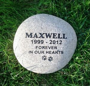 pet memorial stone grave marker real 11 river rock personalized for