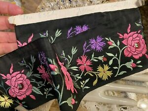 VINTAGE-JQ-1940-039-s-EMBROIDERED-Silk-3-034-TRIM-FRANCE-RIBBON-1yd