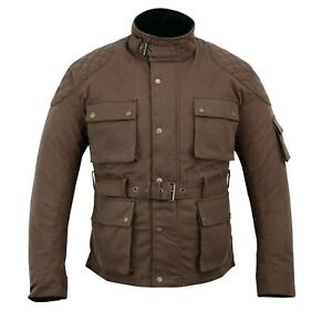 Men/'s Classic Brown Waxed Cotton Motorcycle Jacket Textile Biker Armoured