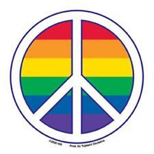 Gay Pride Peace Sign Bumper Sticker Rainbow Lesbian LBGTQ Rights Resistance
