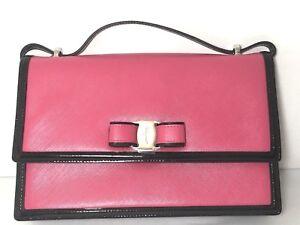459172f68a0d Image is loading Authentic-Salvatore-Ferragamo -Ginny-Bicolor-Vara-Leather-Shoulder-