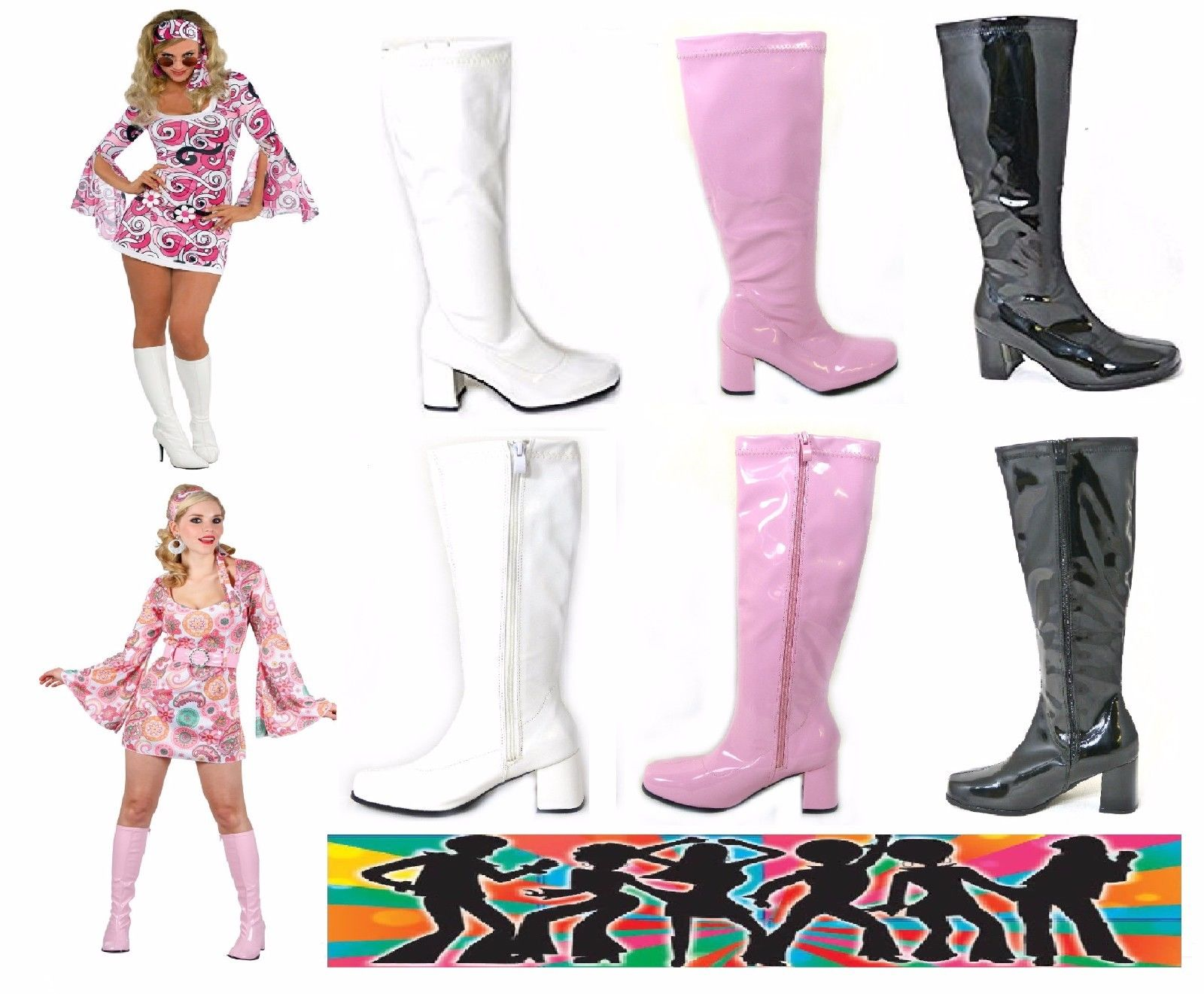 New Mujer Ladies Vintage Fancy Dress Party GO Retro GO botas 60s 70s Retro GO Talla 3-12 9a02db