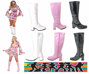 New Women's Ladies Fancy Dress Party GO GO Boots 60s & 70s Party Sizes 3 TO 12