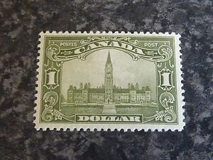 CANADA POSTAGE STAMP SG285 1 DOLLAR OLIVE GREEN VERY LIGHTLY MOUNTED MINT